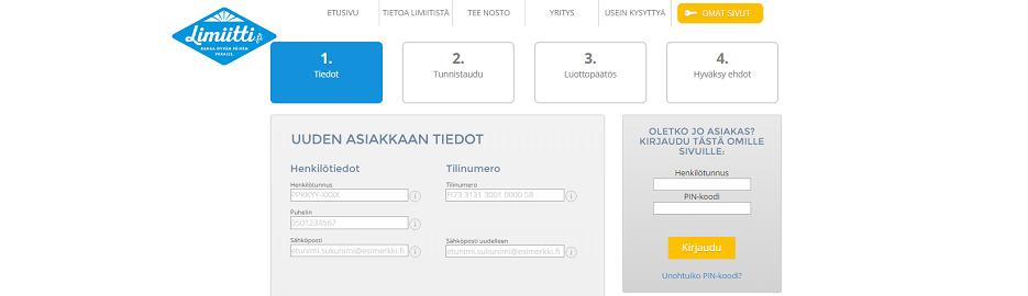 Limiitti.fi - Lainahakemus