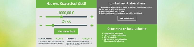 Ostosraha - Lainaa netistä 400 - 5000 euroa.