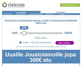 Uudet asiakkaat: Risicum lainaa 0 % korolla ja 0 € kuluilla aina 300 euroon saakka.