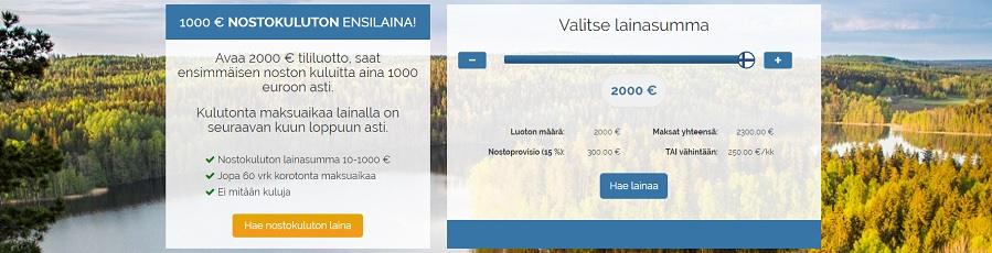Suomilimiitti.fi - Kuluton 1000 euron enslaina!