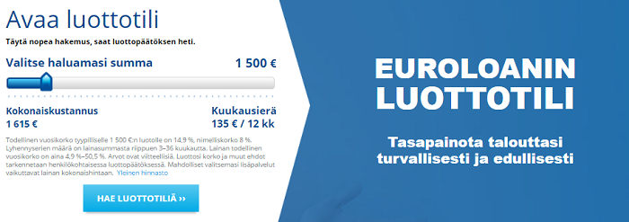 Eurolon.fi Luottotili. Hae lainaa tästä.