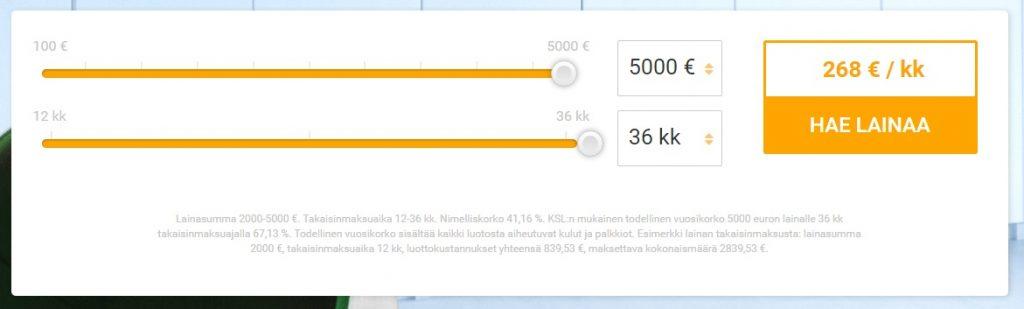 Lainasto - Joustoluotto lainaa 2000 - 3000 euron käyttörajalla.