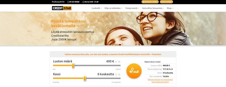Hae lainaa Creditstar.fi palvelusta!