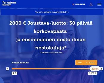 Ferratum Joustava lainaa 2000 € hyvillä lainaeduilla!