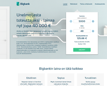 Bigbank lainaa edullisella lainakorolla.