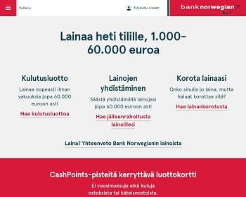 Bank Norwegian lainaa monenlaiseen käyttötarkoitukseen.