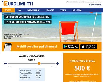 Eurolimiitti lainaa 500 euroa ilman nostokuluja.