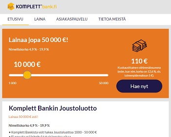 Komplett Bank lainaa ilman vakuuksia.