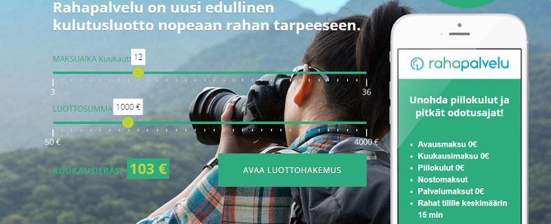 Rahapalvelu.fi lainaa ilman nostomaksuja.
