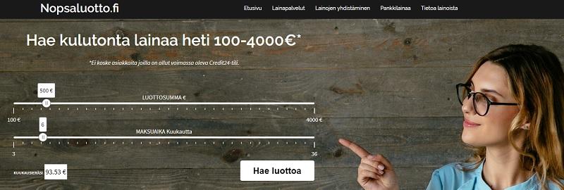 Nopsaluotto.fi lainaa 4000 euroa