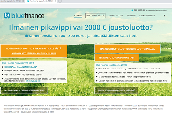 Blue Finance 2000 euron joustoluotto